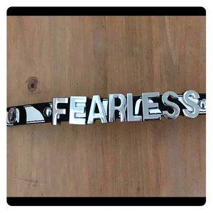 BCBG zebra Fearless message bracelet